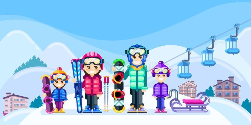Den lyckliga familjen på vintern skidar semesterorten, illustration för vektorlägenhetstil Tillbringa veckoslutet loppet i berg,  stock illustrationer