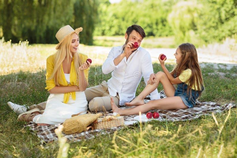 Den lyckliga familjen som har picknicken och äter äpplen parkerar in royaltyfri fotografi