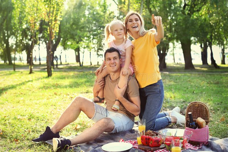 Den lyckliga familjen som har picknicken parkerar in royaltyfri bild