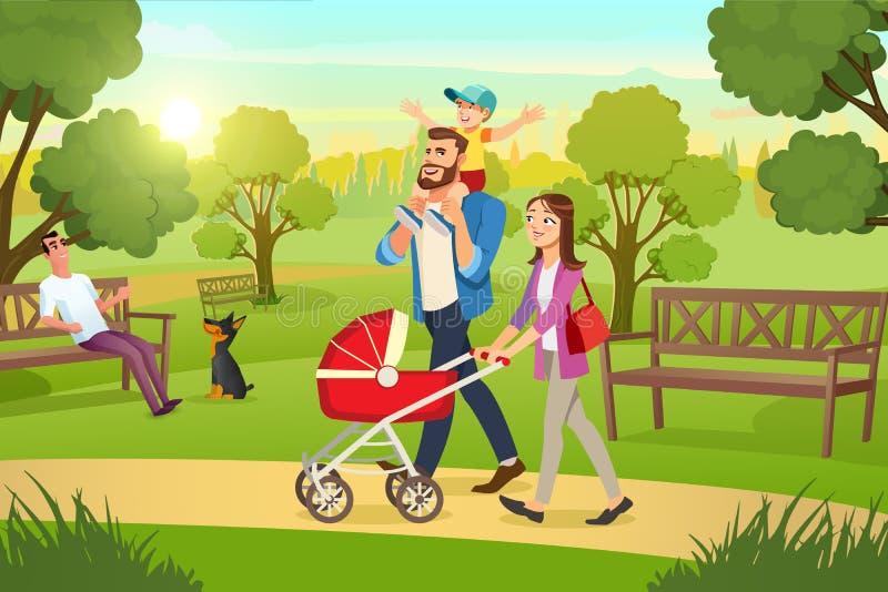 Den lyckliga familjen som strosar med pramen parkerar in, vektorn royaltyfri illustrationer