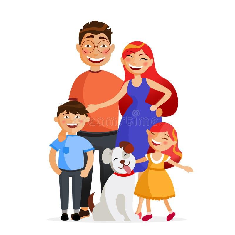 Den lyckliga familjen står tillsammans i kram Avla, fostra, sonen, dottern och hunden Plan vektorillustration för familj vektor illustrationer