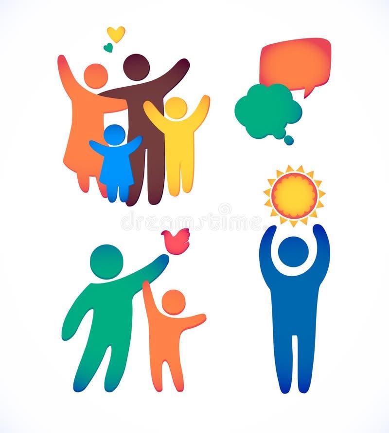 Den lyckliga familjsymbolen som var mångfärgad i enkla diagram, ställde in Barn, farsan och mamman står tillsammans Vektorn kan a stock illustrationer