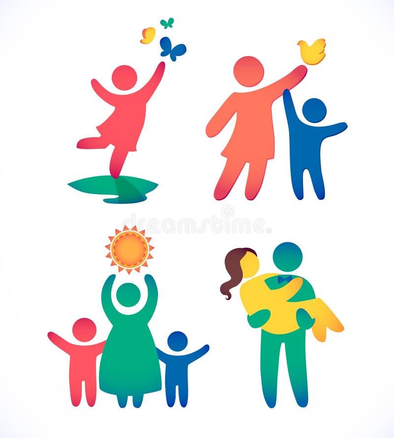 Den lyckliga familjsymbolen som var mångfärgad i enkla diagram, ställde in Barn, farsan och mamman står tillsammans Vektorn kan a vektor illustrationer