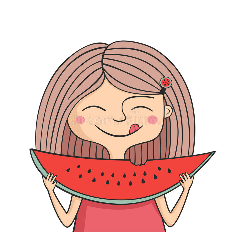 Den lyckliga flickan äter den söta vattenmelon vektor illustrationer