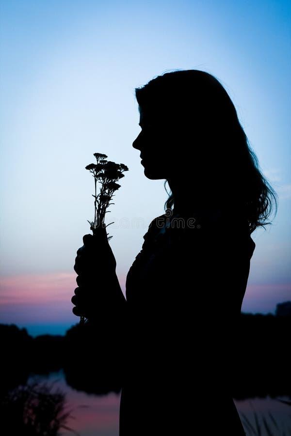 Den lyckliga flickan med en bukettkontur på naturen i parkerar solnedgång royaltyfri fotografi