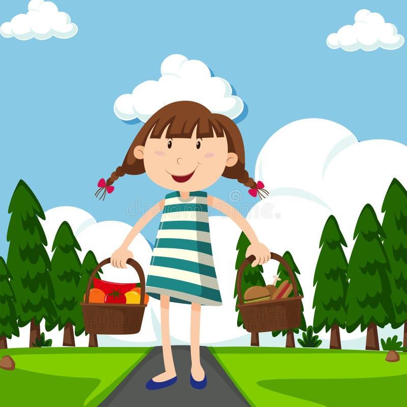 Den lyckliga flickan med korgar som är fulla av mat parkerar in royaltyfri illustrationer