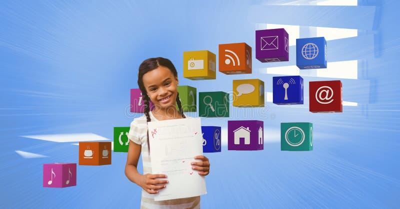 Den lyckliga flickan med A plus kvalitetsvisning skyler över brister vid appssymboler royaltyfri bild