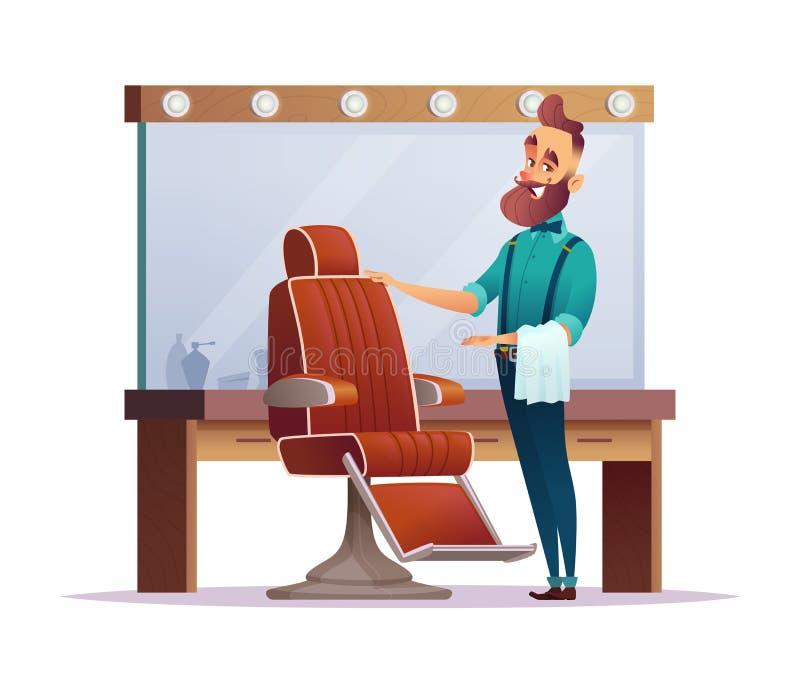 Den lyckliga frisersalongfrisören inviterar dig till en stol Design av det charmiga tecknad filmbarberareteckenet vektor illustrationer
