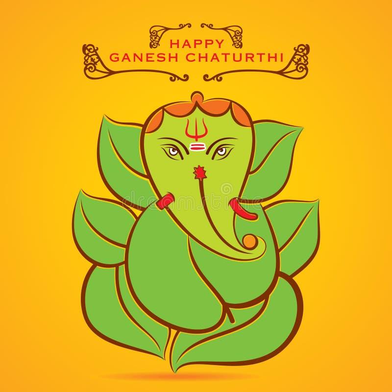 Den lyckliga ganeshchaturthien skissar hälsningkortdesign royaltyfri illustrationer