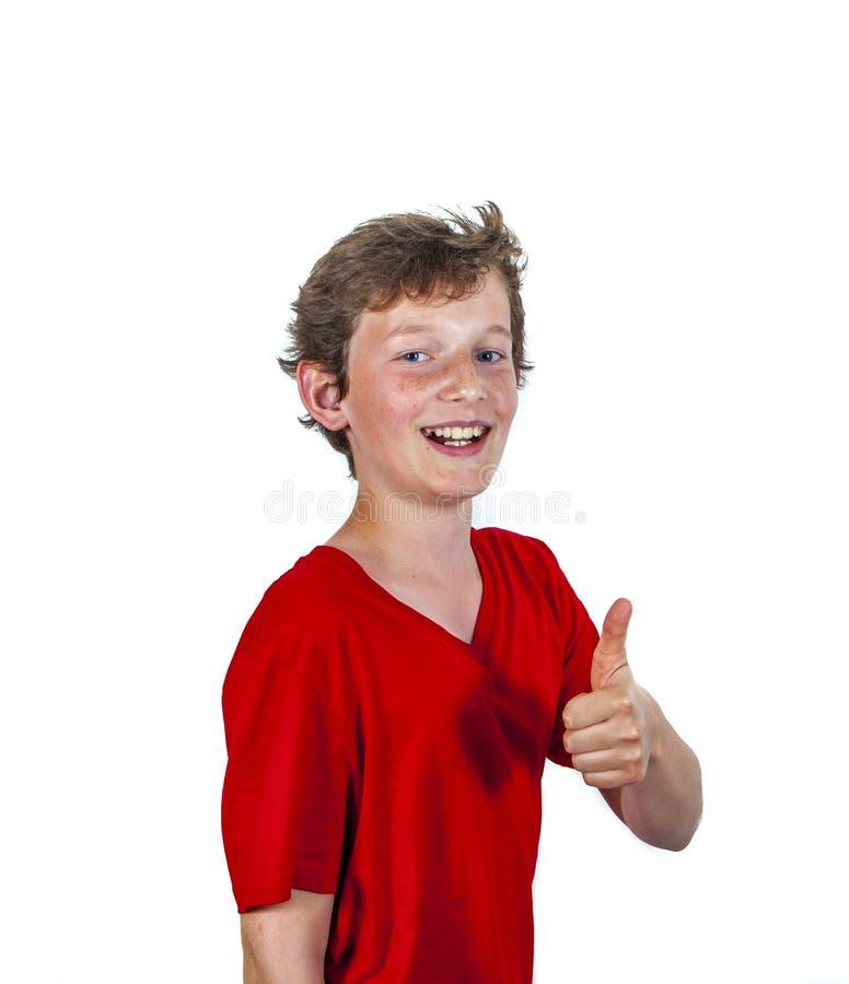 Den lyckliga glade pojken ger tecknet arkivbild