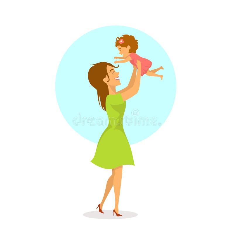 Den lyckliga gladlynta modern och behandla som ett barn dottern som spelar, mamman som lyfter upp hennes barn i luften vektor illustrationer
