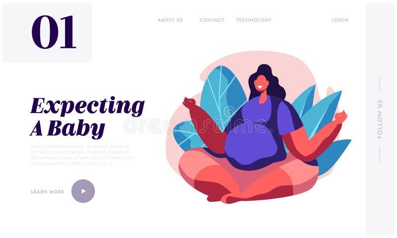 Den lyckliga gravida avkopplade kvinnan med den stora buken sitter i Lotus Pose Doing Yoga Asana Att vänta för kvinnligt tecken b stock illustrationer