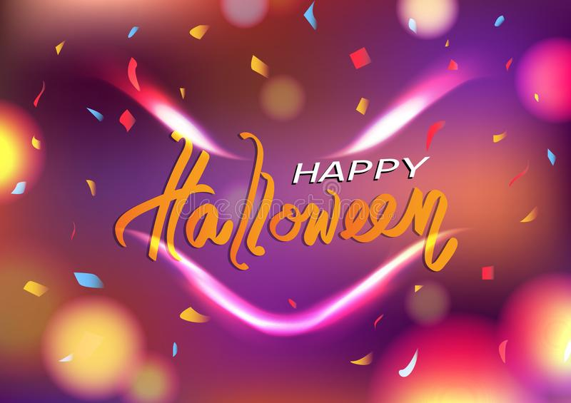 Den lyckliga halloween dagen spökespirirt spökade leenden, illustrationen för vektorn för bakgrund för abstrakt begrepp för beröm vektor illustrationer