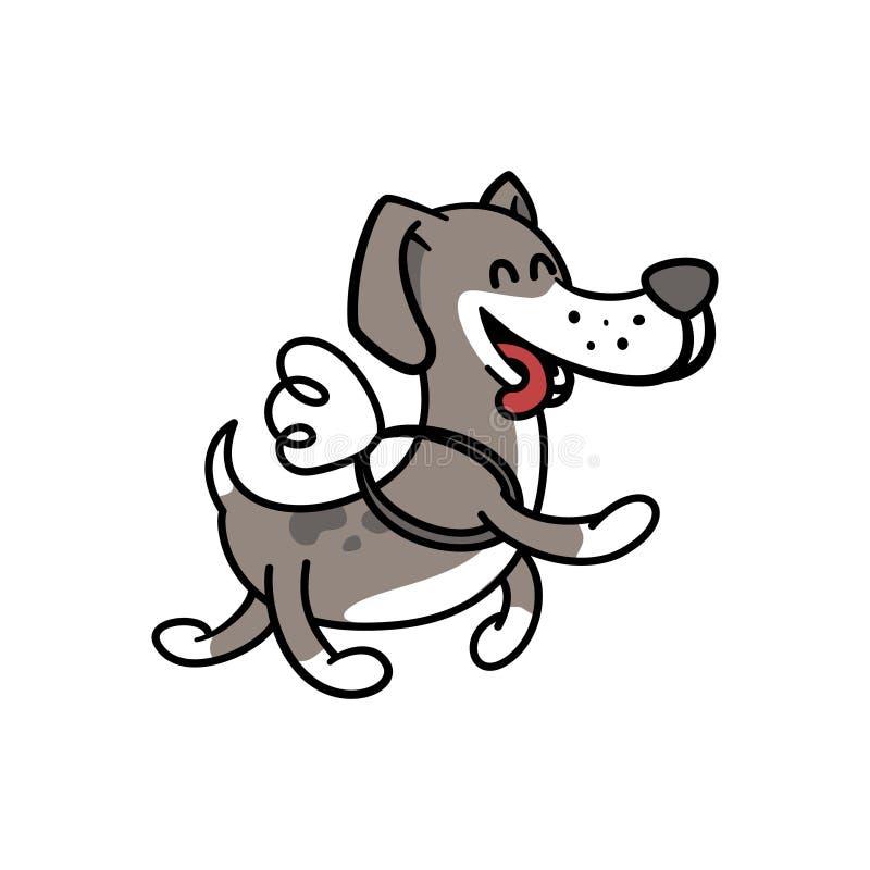 Den lyckliga hunden flyger på vingarna, illustrationfärgläggningsidor för barn royaltyfri illustrationer