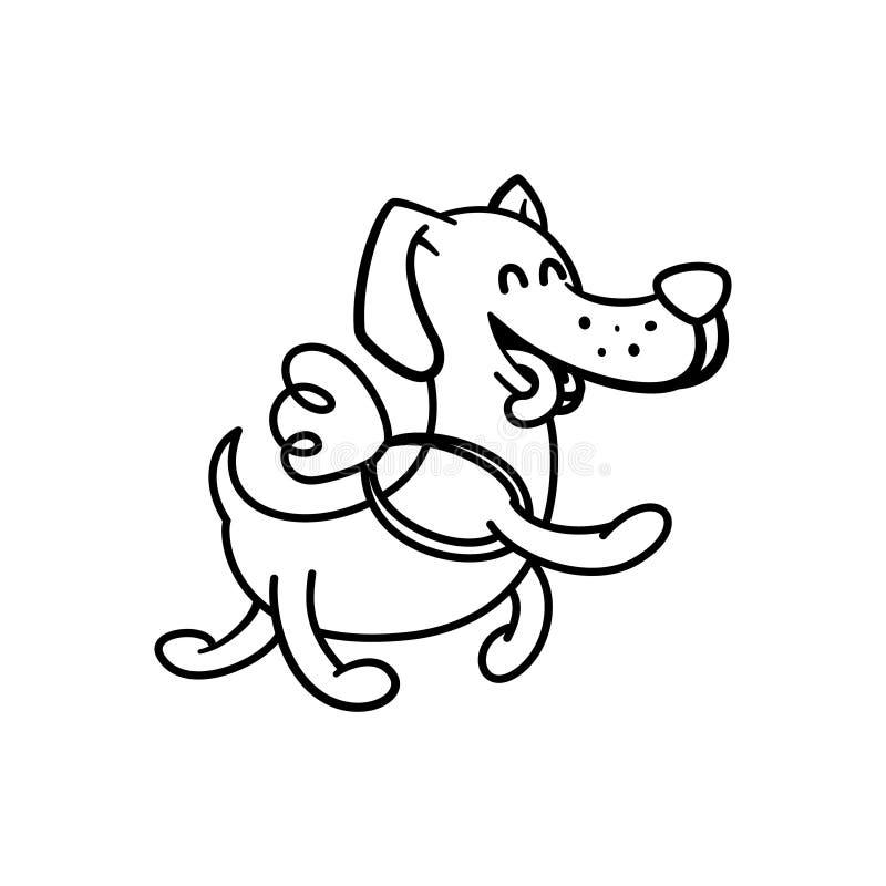 Den lyckliga hunden flyger på vingarna, illustrationfärgläggningsidor för barn vektor illustrationer