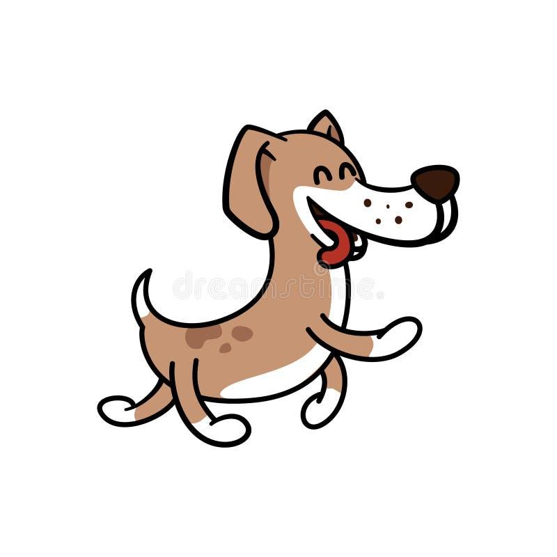 Den lyckliga hunden går bekymmerslöst vektor illustrationer