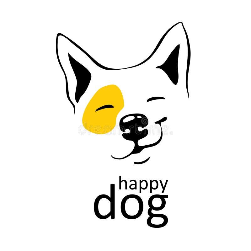Den lyckliga hundlogoen på vit bakgrund med gul brytning på vänster ögonleendeflin på hans tunna svart för framsidan fodrar gulli stock illustrationer
