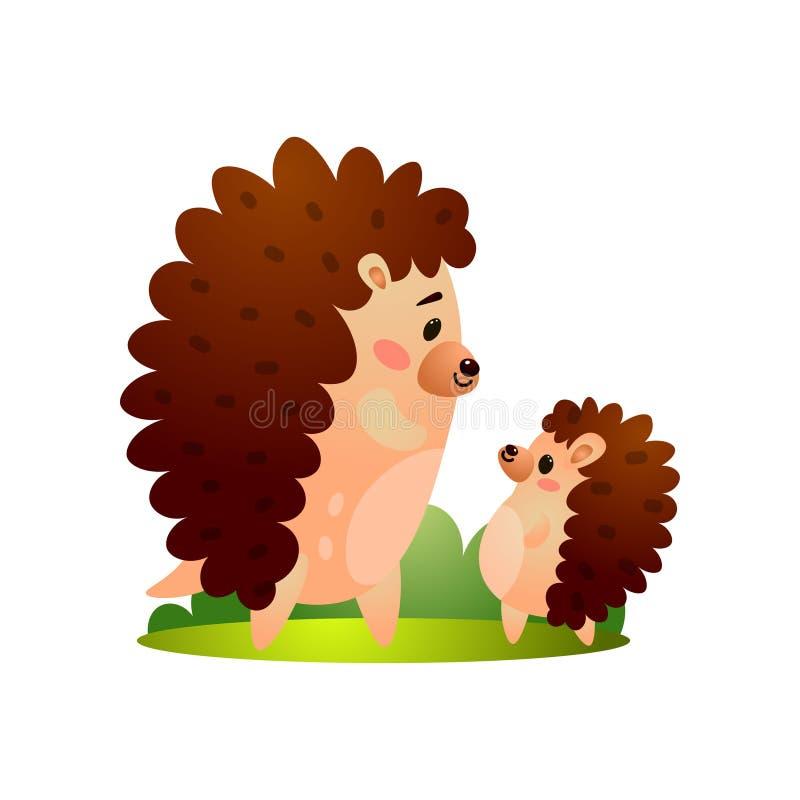 Den lyckliga igelkottfadern med sonen går till att gå stock illustrationer