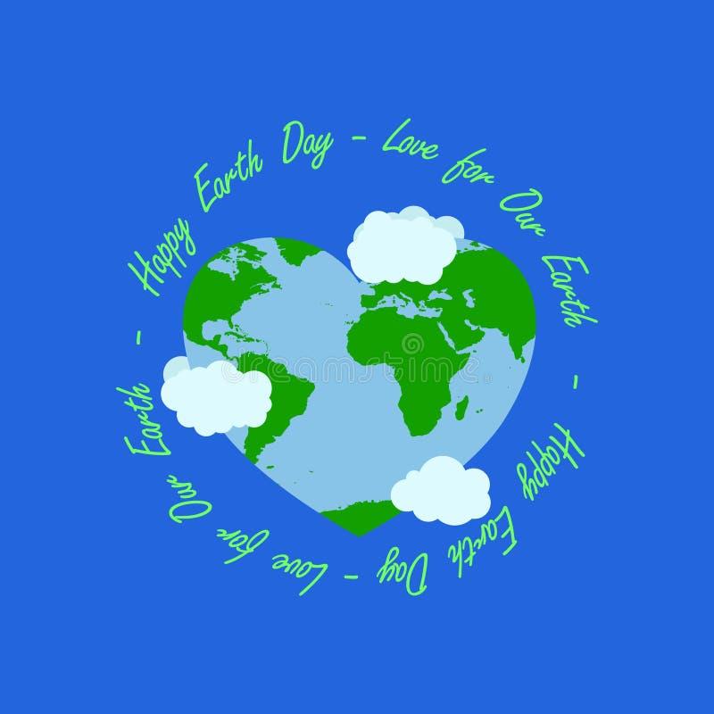 Den lyckliga illustrationen för jorddagen har cirkeltypografi på den mellersta typografin att ha att omge för för hjärtajord och  stock illustrationer