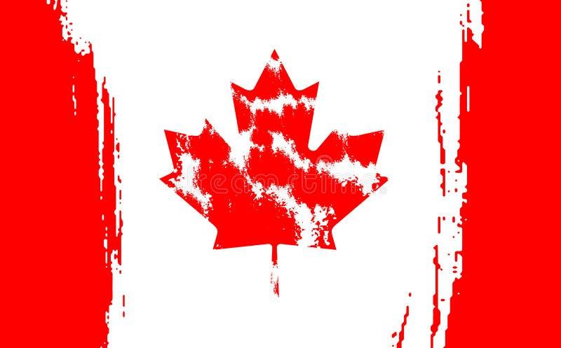 Den lyckliga Kanada dagen juli 1 ferie firar kortet Lönnlöv på flaggan som göras i borsteslaglängdbakgrund stock illustrationer