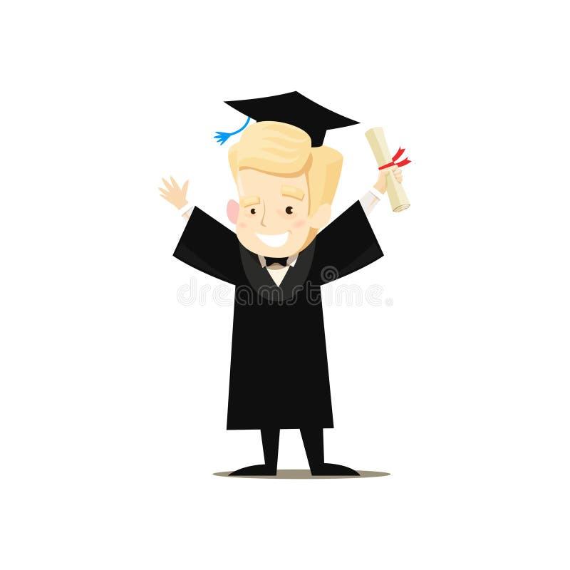 Den lyckliga kandidaten rymmer diplomet i hans hand som rymmer upp hans händer vektor illustrationer