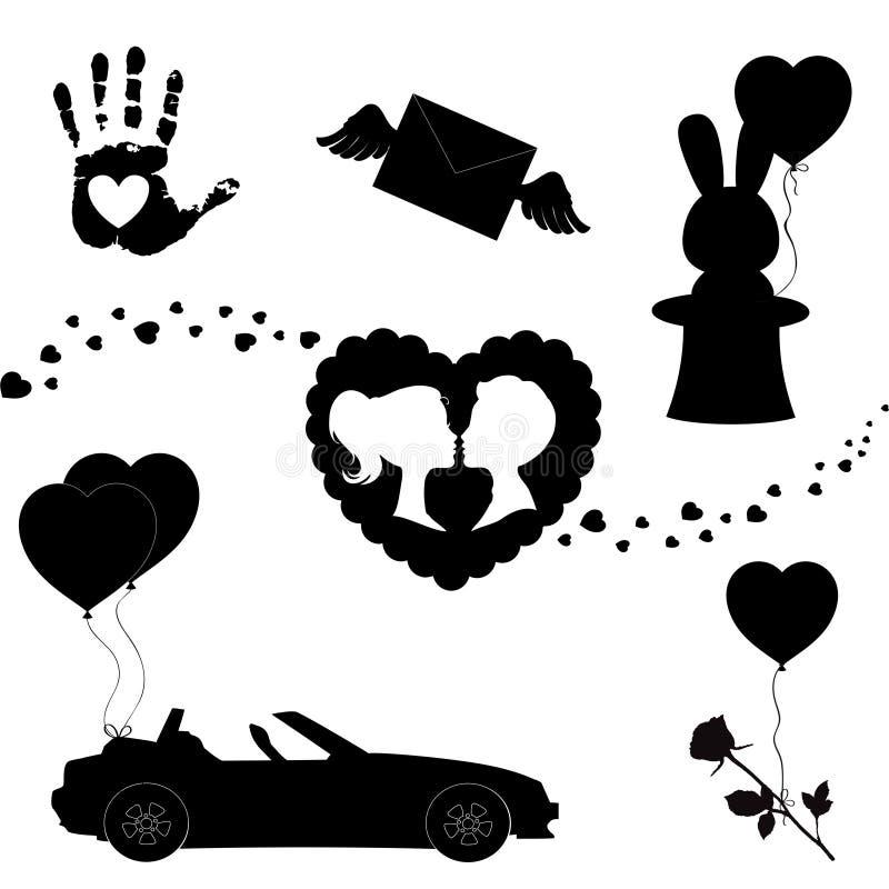 Den lyckliga konturn för symboler för valentindagsvart ställde in isolerat på vit bakgrund stock illustrationer