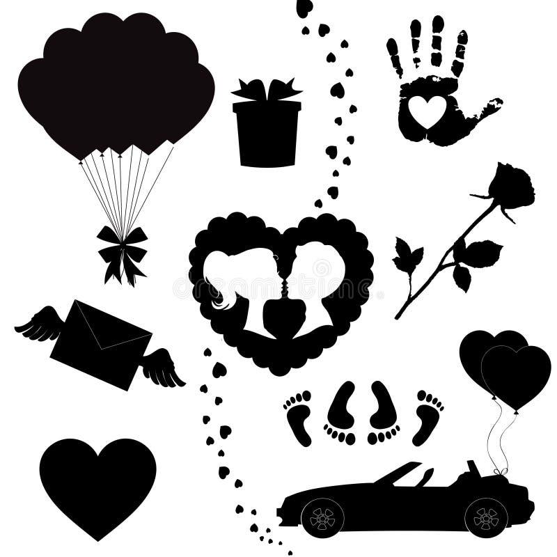 Den lyckliga konturn för symboler för valentindagsvart ställde in isolerat på vit bakgrund royaltyfri illustrationer