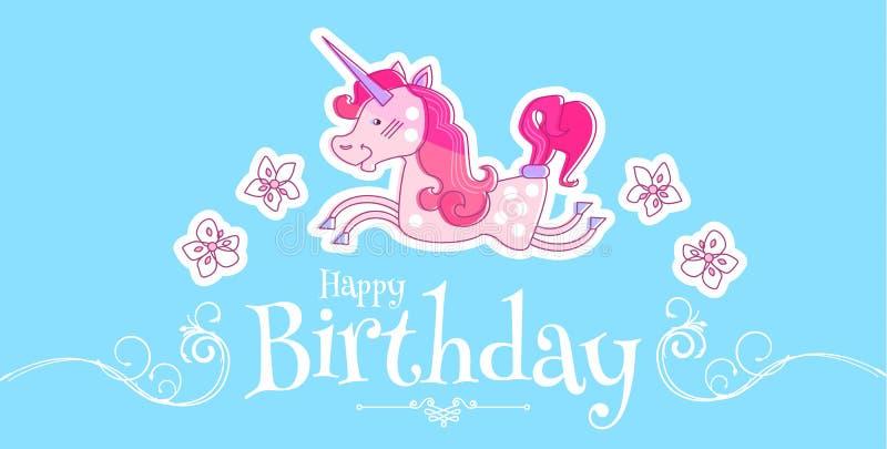 Den lyckliga lilla prinsessan Birthday Card Template med den magiska enhörningen, blommar och virvlar runt också vektor för corel royaltyfri illustrationer