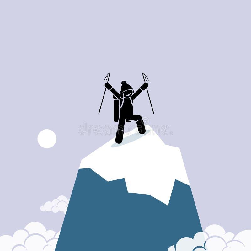Den lyckliga mannen klättrar lyckat överst av berget stock illustrationer
