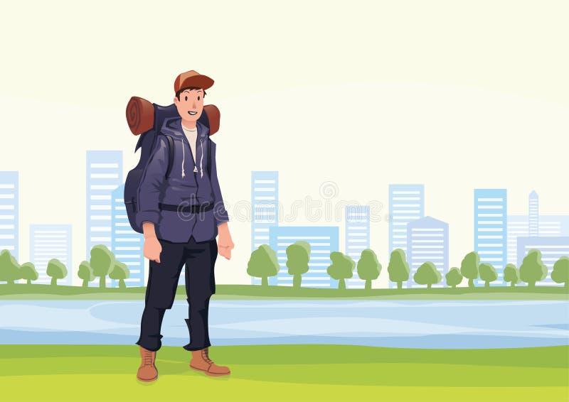 Den lyckliga mannen på morgonen går i staden parkerar En turist med ryggsäcken också vektor för coreldrawillustration royaltyfri illustrationer
