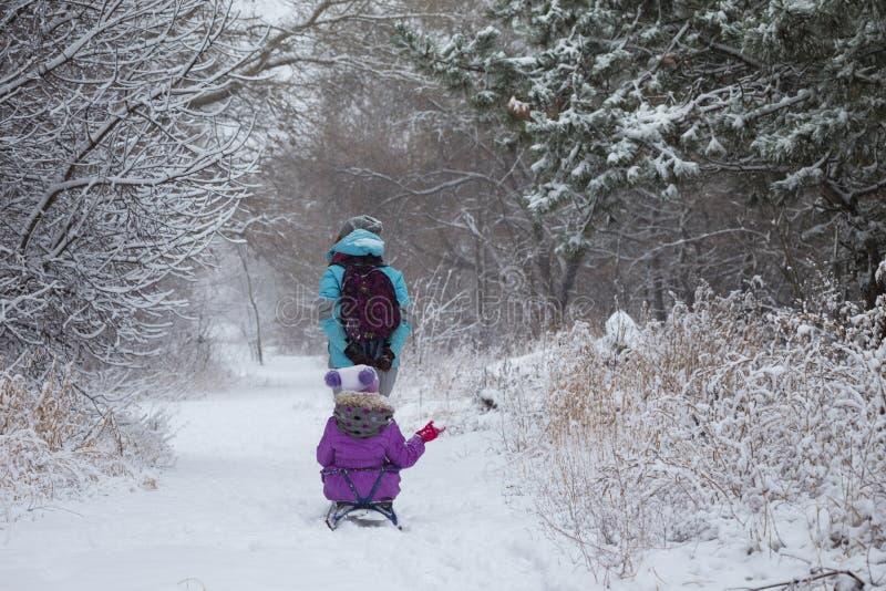 Den lyckliga modern och dottern på en vinter går royaltyfri fotografi