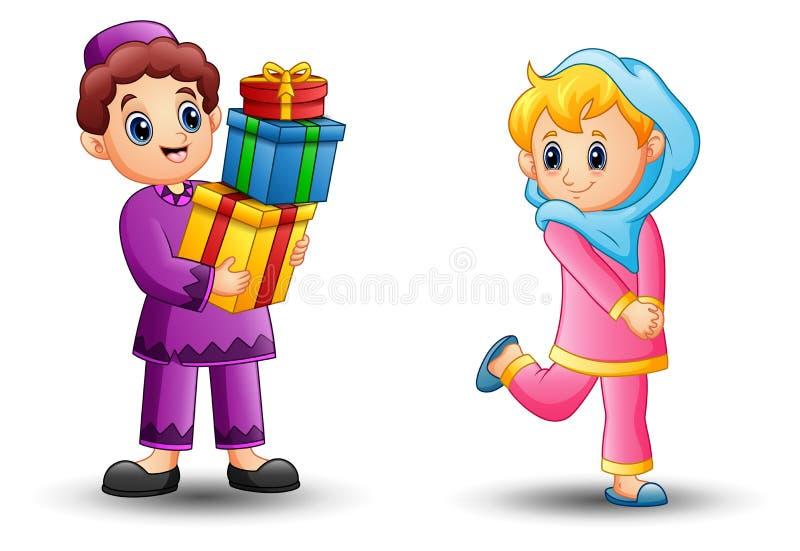 Den lyckliga muslimska flickatecknade filmen kan vara en gåva från pojke stock illustrationer