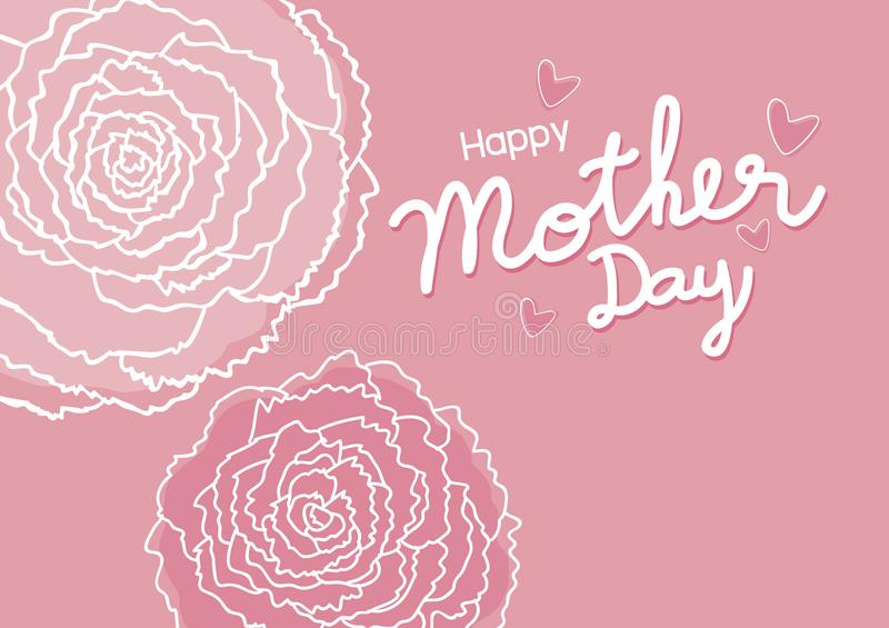 Den lyckliga nejlikan för designen och för rosa färger för moderdag blommar bakgrund royaltyfri illustrationer
