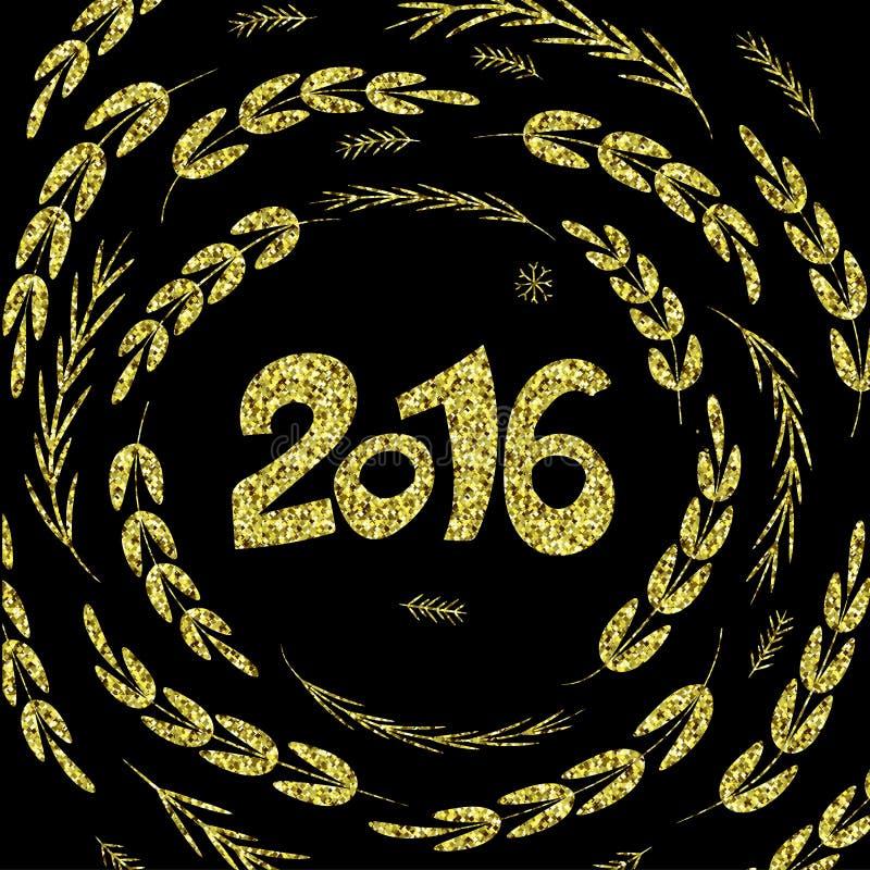 Den lyckliga nya 2016 år gnistrandet blänker bakgrund för hälsningkortet royaltyfri illustrationer