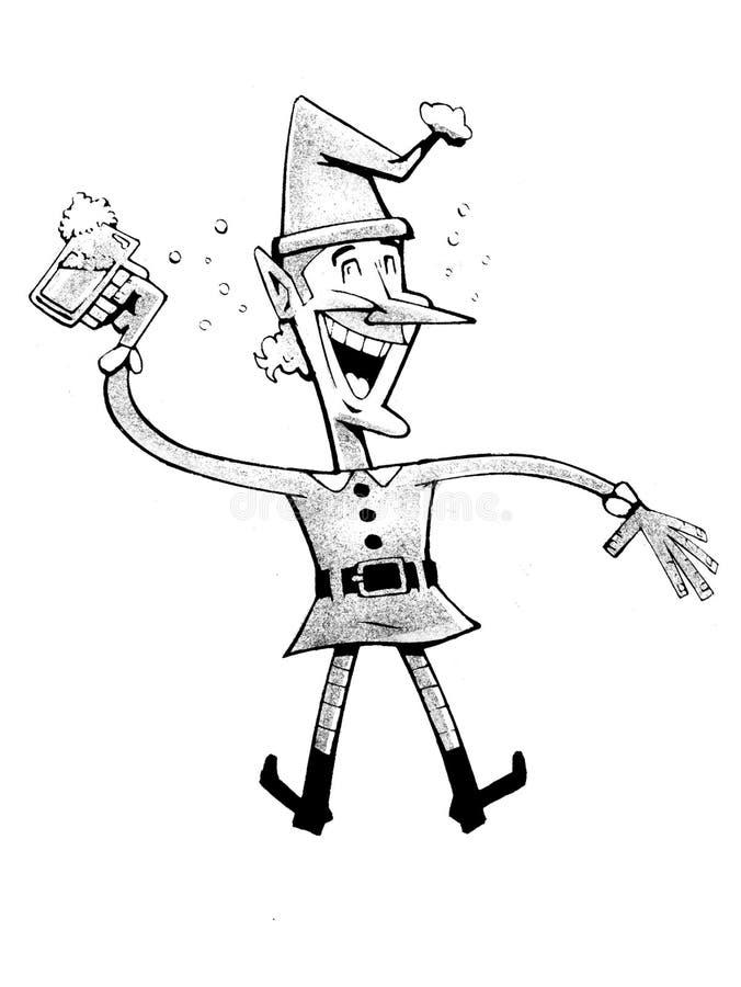 Den lyckliga nyfikna älvan som firar och hoppar stock illustrationer
