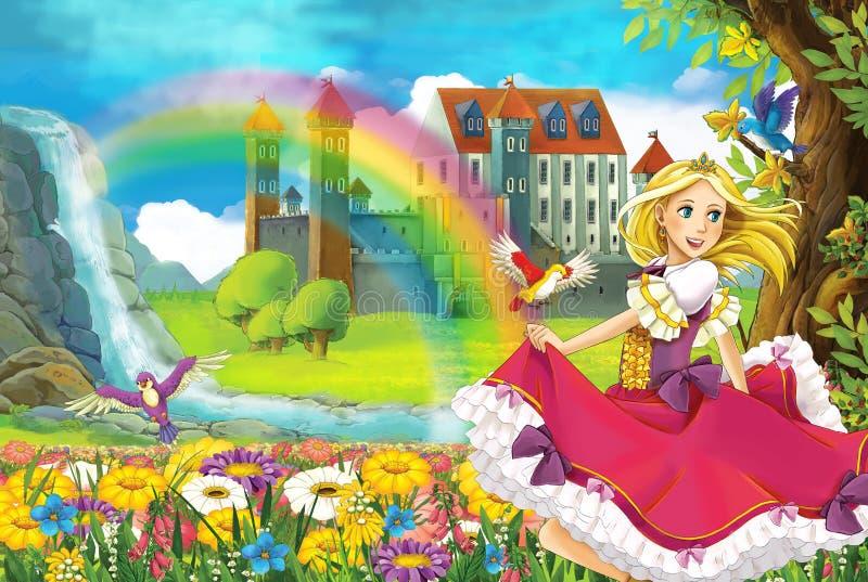 Princessen - härlig Manga illustration stock illustrationer