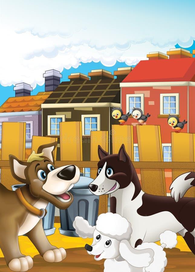 Förföljer stadsliv - illustrationen för barnen royaltyfri illustrationer