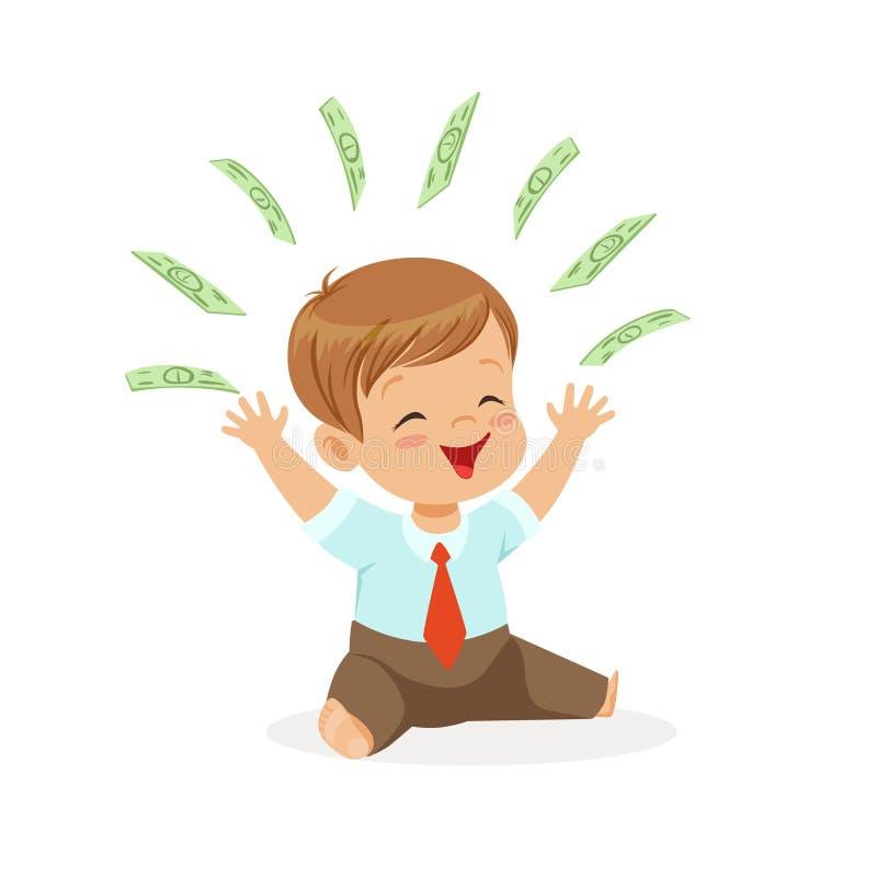 Den lyckliga pojkeaffärsmannen som spelar med pengar som flyger över hans huvud, lurar besparingar och finans, rikedom av barndom royaltyfri illustrationer