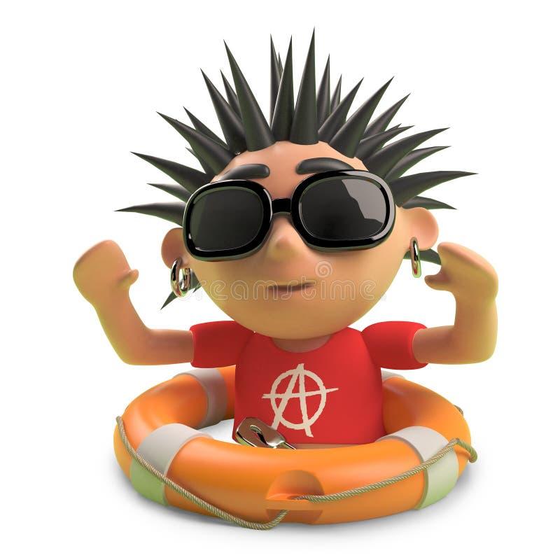 Den lyckliga punkaren med spetsigt hår har sparats med en livpreserver, illustrationen 3d stock illustrationer