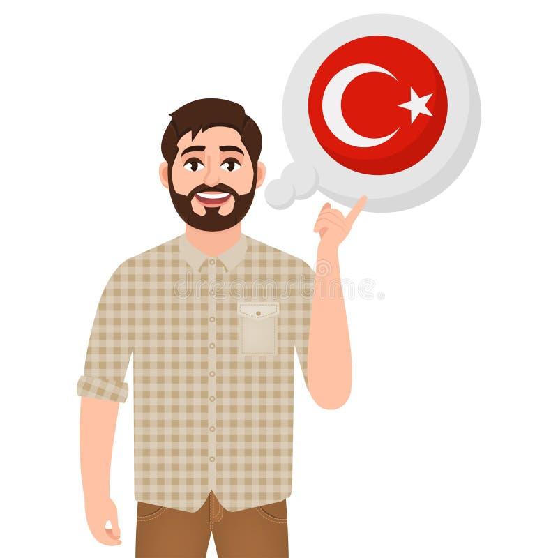 Den lyckliga skäggiga mannen säger eller tänker om landet Turkiet, symbol för europeiskt land, handelsresande eller turist royaltyfri illustrationer