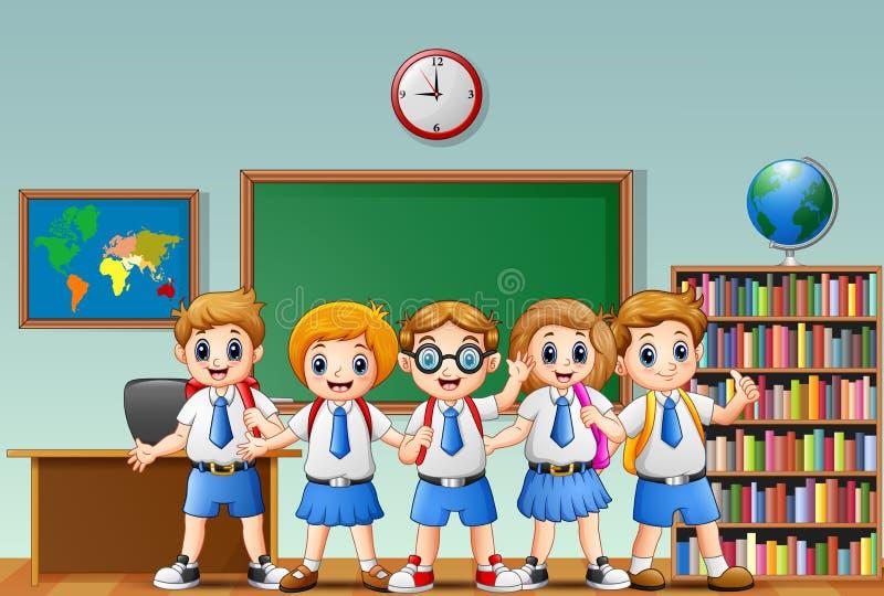 Den lyckliga skolan lurar tecknade filmen i ett klassrum royaltyfri illustrationer