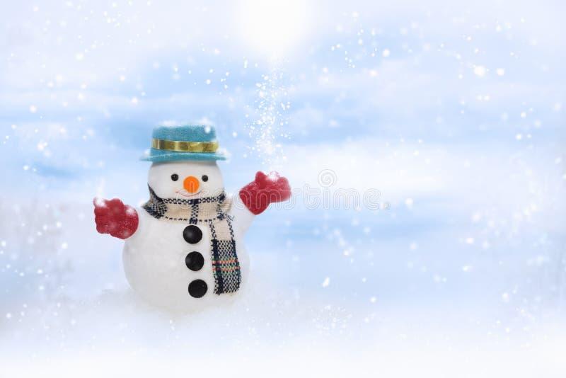 Den lyckliga snögubben står i vinterjullandskap arkivbilder