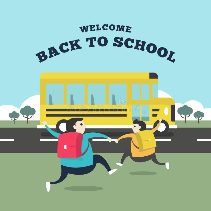 Den lyckliga studenten som kör till bussen för, går till skolan Välkomnande tillbaka till skolabegreppet vektor illustrationer