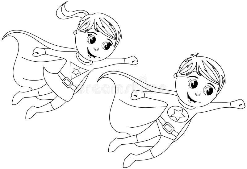 Den lyckliga Superheroungen lurar flyget isolerade färgläggningsidan stock illustrationer