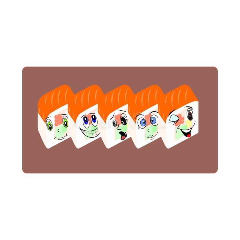 Den lyckliga sushi stock illustrationer