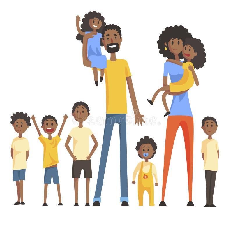 Den lyckliga svarta familjen med ståenden för många barn med alla ungar och behandla som ett barn och le den färgrika illustratio stock illustrationer
