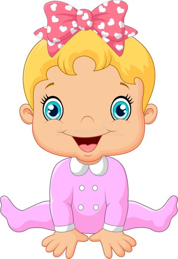 Den lyckliga tecknade filmen behandla som ett barn flickan royaltyfri illustrationer