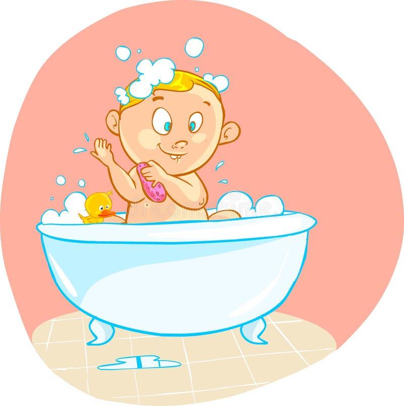 Den lyckliga tecknade filmen behandla som ett barn ungen i bad badar stock illustrationer