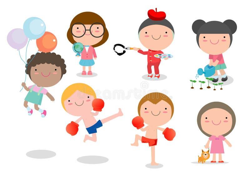 Den lyckliga tecknade filmen lurar att spela, barn som spelar på vit bakgrund, vektorillustration vektor illustrationer