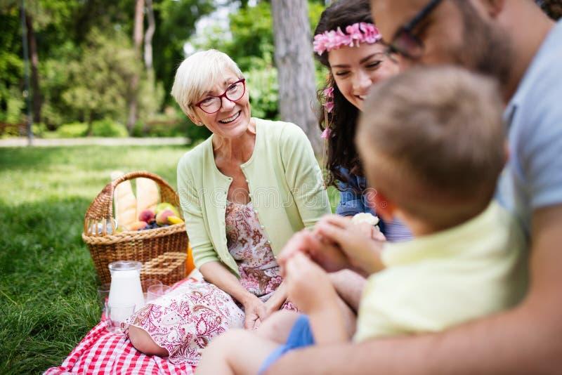 Den lyckliga unga familjen som spelar på gräset i, parkerar och tycker om picknicken royaltyfria foton